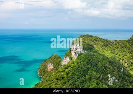 Beautiful tropical sea and mountain. Ang Thong National Marine Park,Thailand. Top view. Nature background. - Stock Photo