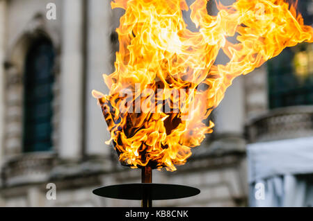 BELFAST, NORTHERN IRELAND, UK - APR 21 2016 - Belfast City Council light a beacon at the City Hall to celebrate - Stock Photo
