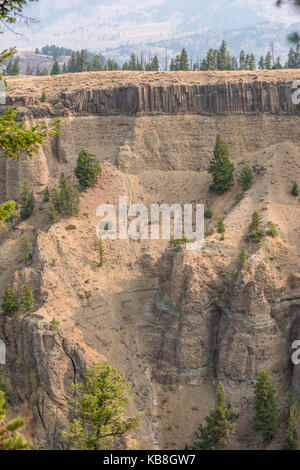 Yellowstone River and canyon gorge at Calcite Springs - Stock Photo