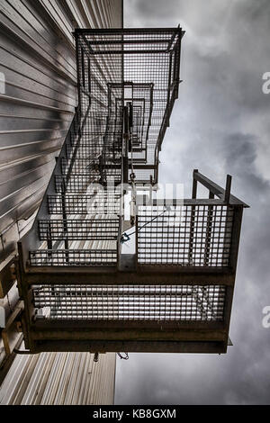 Metal grid staircase from below - Stock Photo