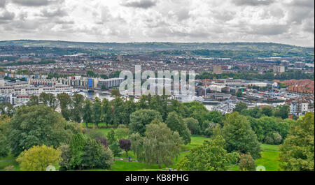 BRISTOL ENGLAND CITY CENTRE CABOT TOWER BRANDON HILL VIEW TO HARBOUR AREA AND SS GREAT BRITAIN - Stock Photo