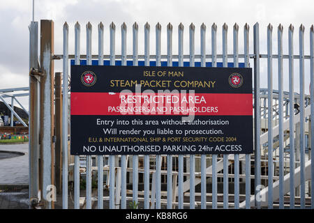 Isle of Man Steam Packet Company sign with restricted area notice, Pier Head, Liverpool, UK - Stock Photo