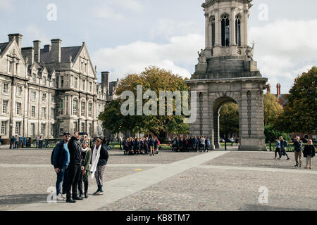 A view of the Campanile bell tower in Trinity College, Dublin city, Ireland. - Stock Photo