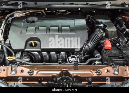 Detail of the new gasoline engine in the modern sedan car. - Stock Photo