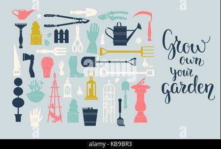 Gardening tools set - Stock Photo