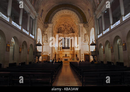 Interior of the church of Our Lady of the Holy Rosary of Fatima, Portugal - pilgrimage destination - Stock Photo