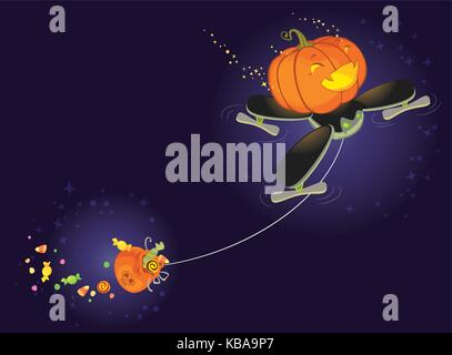 The Cute Halloween Pumpkin Flying on a Drone and Collecting Sweets - Stock Photo