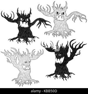Halloween cartoon set of two pairs of aggressive evil trees in stencil and outline vector designs - Stock Photo