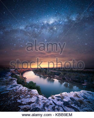 Milky Way over the Murray River - Stock Photo