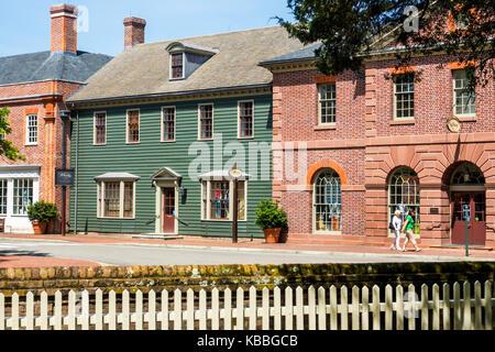 Colonial Williamsburg Virginia living history museum 18th-century America buildings exterior - Stock Photo