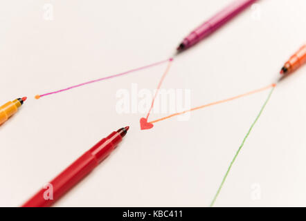 Close up of connected lines painted with colorful red markers on white paper. Lines for charts, shedule - Stock Photo