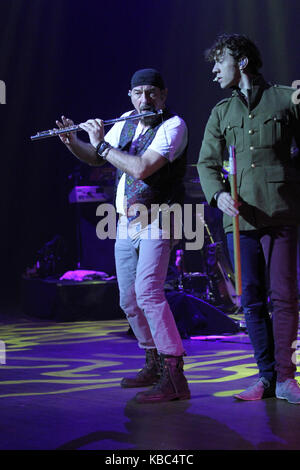 The British rock group Jethro Tull performs a live concert at Grieghallen in Bergen. Here singer, songwriter and - Stock Photo