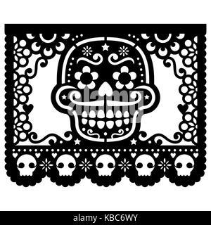 Mexican sugar skull vector paper decorations - Papel Picado black design for Halloween, Dia de Los Muertos, Day - Stock Photo
