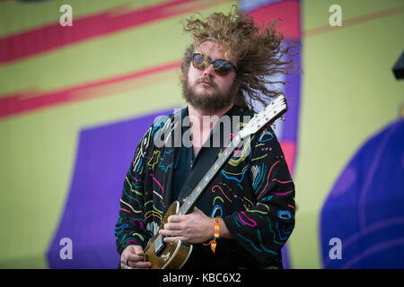 The American rock band My Morning Jacket performs a live concert at the music festival Lollapalooza 2015 in Berlin. - Stock Photo