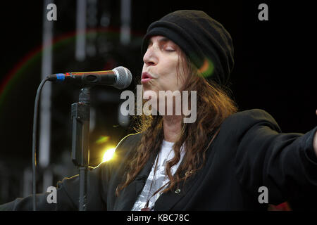 The American singer, songwriter and poet Patti Smith performs a live concert at the Norwegian music festival Bergenfest - Stock Photo