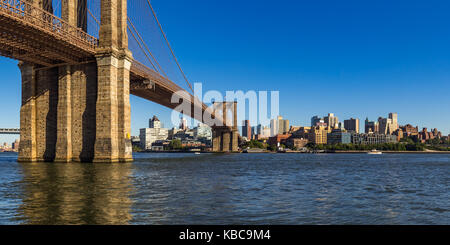 Panoramic view of Brooklyn Riverfront with the Brooklyn Bridge, Brooklyn Bridge Park, and the East River - Stock Photo