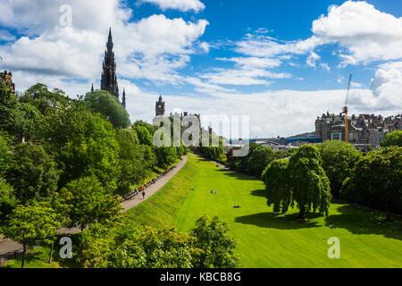 View over Princes Street Gardens, Edinburgh, Scotland, United Kingdom, Europe - Stock Photo