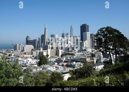 The view over downtown San Francisco in California, USA. - Stock Photo