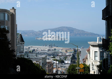 The view over downtown San Francisco and Alcatraz Island in California, USA. - Stock Photo