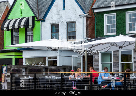 Richmond Virginia Carytown neighborhood urban retail district shopping alfresco restaurant dining - Stock Photo
