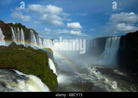 Devils Throat (Garganta do Diabo), Iguazu Falls, Brazil - Argentina border, South America - Stock Photo