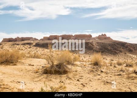 Ruins of the Fortress Ayaz-Kala of Ancient Khorezm in Kyzylkum desert. Uzbekistan - Stock Photo