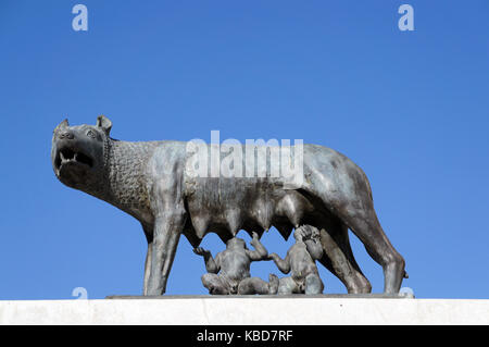 Romulus, remus and female wolf on statue in Cluj-Napoca, Romania - Stock Photo
