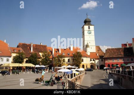 Main city square in medieval town Sibiu, Transylvania Romania - Stock Photo