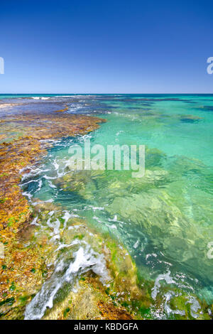 Penguin Island's clear and sheltered waters are ideal for swimming, boating, fishing and snorkelling. Shoalwater - Stock Photo