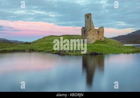 Ardvreck Castle, Loch Assynt, Sutherland, Scotland, United Kingdom - Stock Photo