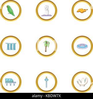 Country Singapore icons set, cartoon style - Stock Photo