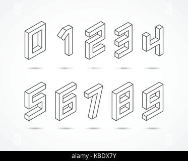 Collection of the isometric numbers 3d illustration - Stock Photo
