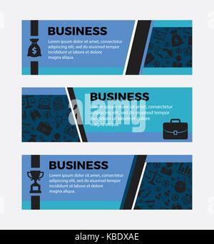 Three Business banners. Set of design elements - Stock Photo