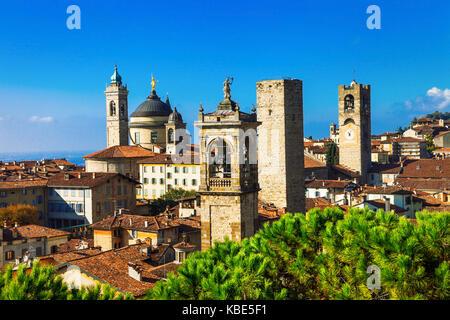 Panoramic view of Bergamo town,Lombardia,Italy. - Stock Photo
