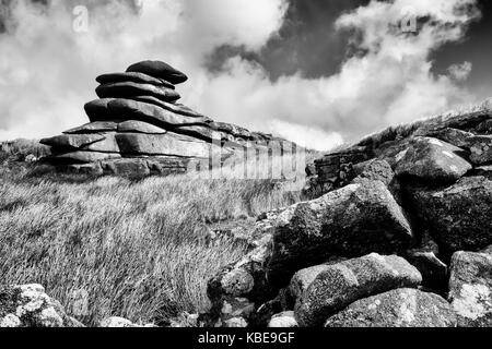 The Cheesewring is a granite tor in Cornwall, United Kingdom, situated on the eastern flank of Bodmin Moor on Stowe's - Stock Photo