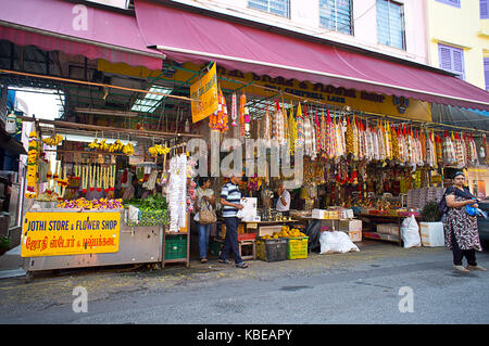 Row of shops in Little India, centre of the city's large Indian community and one of its most vibrant districts. - Stock Photo