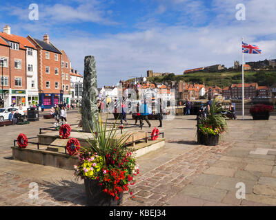 War Memorial by the Harbour at Whitby North Yorkshire England - Stock Photo