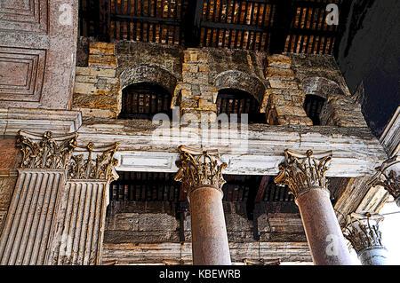 The Pantheon Corinthian Columns, Rome, Italy - Stock Photo