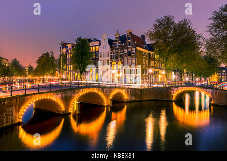 An evening at the canals near the Keizersgracht in Amsterdam, the Netherlands. - Stock Photo