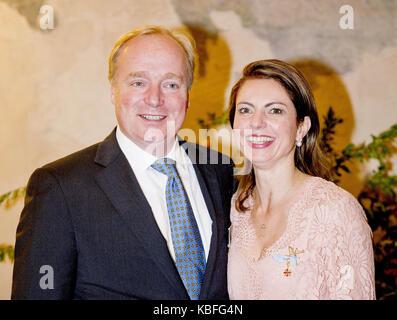 Prince Carlos de Bourbon de Parme and Princess Annemarie de Bourbon de Parme attending the holy mass for the knights - Stock Photo