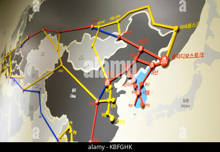 Observatory in DMZ, Sep 29, 2017 : A map showing how the inter-Korean railway is connected to link Asia and Europe, - Stock Photo