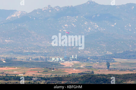 North Korean flag in DMZ, Sep 29, 2017 : A North Korean flag on top of a tower in Gijungdong near the truce village - Stock Photo