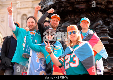 Fans prior to American Football game between the New Orleans Saints and the Miami Dolphins at Wembley - Stock Photo