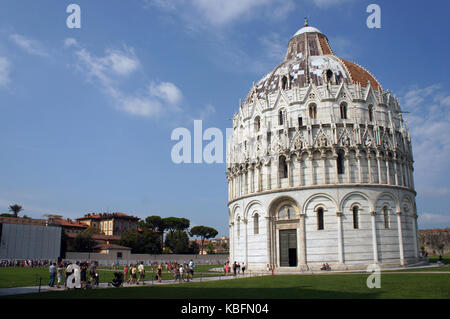 Baptistery of Piza (Pisa) in the Square of Miracles (Piazza dei Miracoli) in Pisa, Italy - Stock Photo