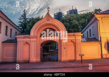 Vilnius, Lithuania: the Gate of Russian Orthodox Church of the Holy Spirit in the sunrise - Stock Photo