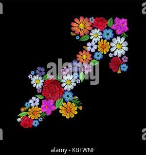 Sagittarius zodiac sign flower arrangement. Horoscope astrology fashion floral embroidery patch design template. - Stock Photo