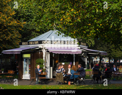 Outdoor cafe in Princes Street Gardens in Edinburgh, Scotland, United Kingdom. - Stock Photo