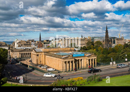 View from The Mound of the Scottish National Gallery art museum and Princes Street Gardens in Edinburgh, Scotland, - Stock Photo