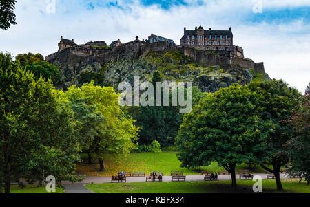 View of Edinburgh Castle from Princes Street Gardens in Edinburgh , Scotland, United Kingdom - Stock Photo