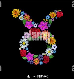 Taurus fashion floral embroidery patch design template. Texture stitch effect. Textile print on black background - Stock Photo